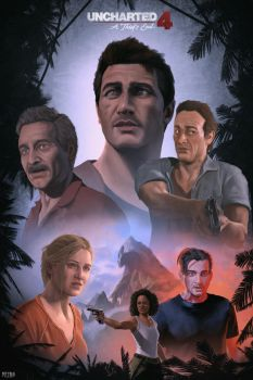 Uncharted 4 Poster (Fan-Art) [Digital Painting] by petro96