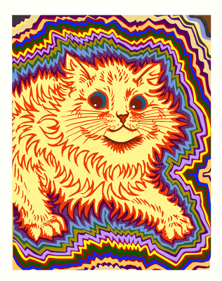 Louis Wain Tribute - Kaleidoscope Cat 3: Electric by thredith