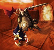 Sonic being chased by a Pursuer by Desadaptado