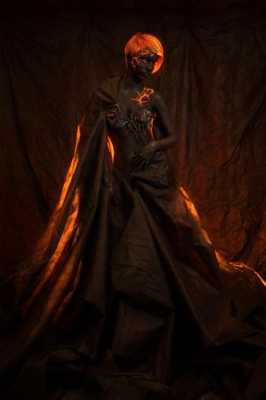 Portrait of a woman with body painting  of volcano by Black-Bl00d