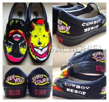 Commission: Neon Cowboy Bebop shoes by Vardagaladhiel