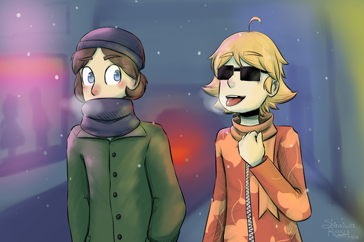 Woah! It's snowing! by Rosy-forever