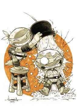 TMNT Raph n Mikey do the ALS ice bucket challenge by Red-J