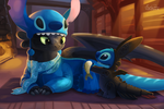Stitch and Toothless by TsaoShin