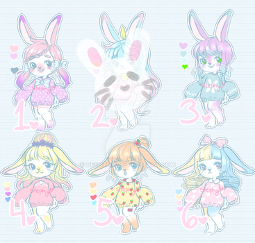 ~Pastel Bunny in Sweaters $3 EACH~ OPEN OPEN by Desuthis