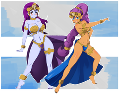 C: Risky Boots and Shantae Tan Line Princess by StaleMeat