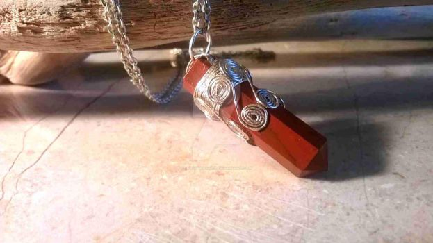 Red Jasper point with silver scrolls by InVistaArts