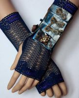 Blue patina gold dusty Cuff III by Pinkabsinthe