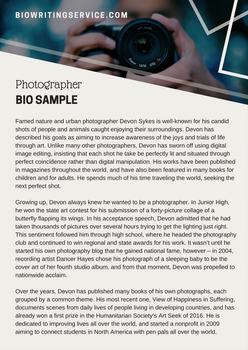 Biowritingsamples bio samples deviantart for Photography bio template
