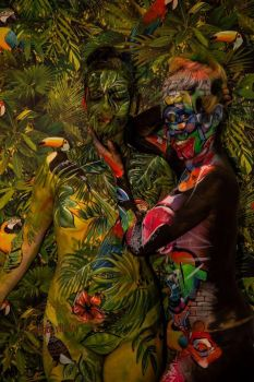 Jungle camo disguise trompe bodypaint by Bodypaintingbycatdot