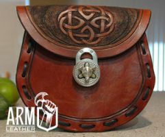 leather pouch frontside by Blackthornleather