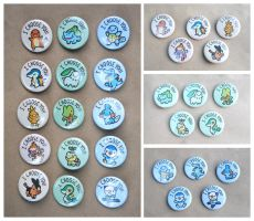 Pokemon Starters Button Set