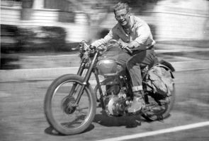 BSA in Redondo Beach 1952 by OldMotorcyclePix