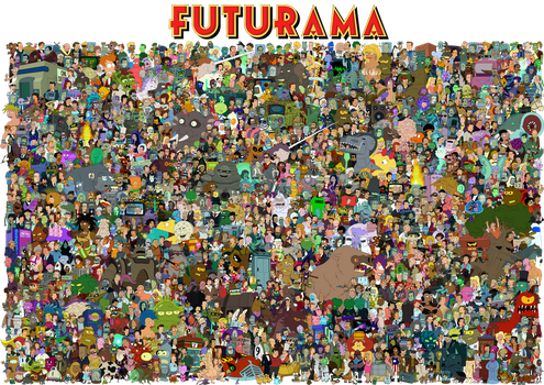 The cast of Futurama by Unrellius