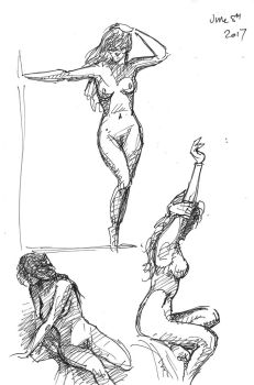 life drawing quick sketches by Harnois75