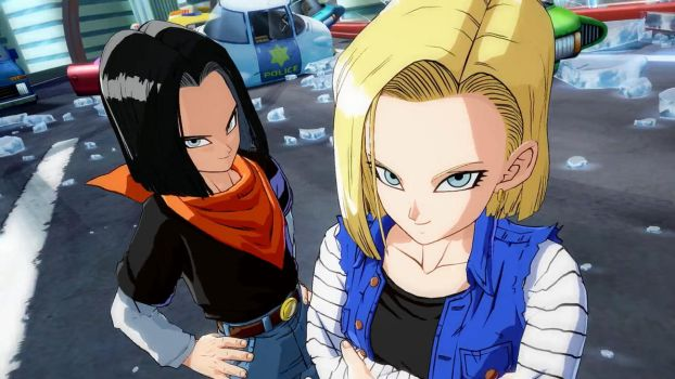 Android 18 with Android 17 - Dragon Ball FighterZ by Moresense