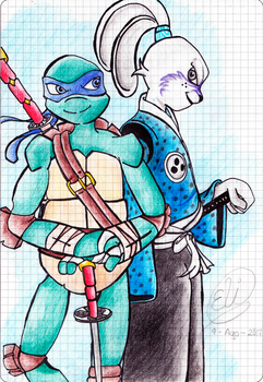 TMNT 2012 - Leonardo and Usagi by EliHedgie95