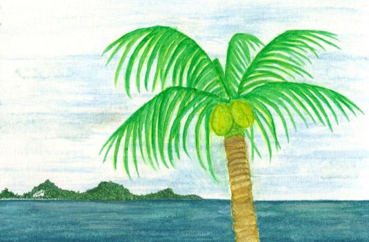 Palm Tree and Island by neonikkichan