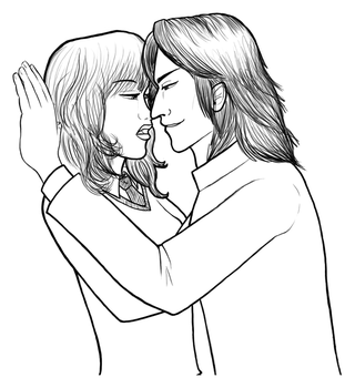 Hermione X Severus LINEART by ForeverSonu