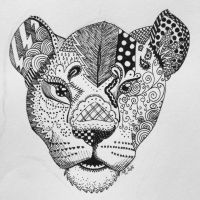 Lioness Zentangle by Philestino