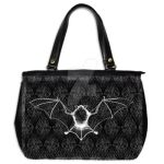 Bat on Damask Hand Bag by ShayneOtheDead