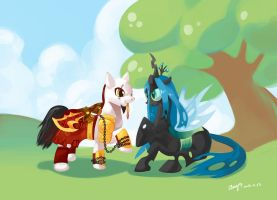 Kratos and Queen Chrysalis by amy30535