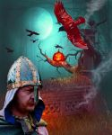 Dying Viking and the Valravn by Calisaroa