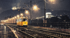 Lonely tram in the rain by hispanhun