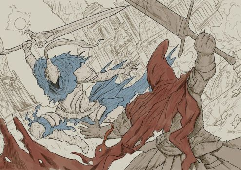 Dark Souls Red and Blue (Mostly Lineart) by SaneKyle