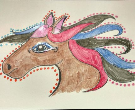 Horse with Multicolored mane by rosepetal179