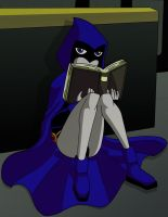 Raven Reading by Glee-chan