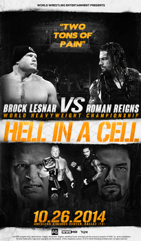 LESNAR VS REIGNS - FANTASY HELL IN A CELL 2014 by Lucke49