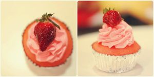 strawberry cupcake by puddingpolaroid