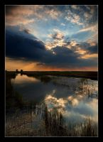 A late sunset in the marsh by YoachimHUN