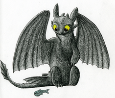 Toothless and the Fishy by CavySpirit