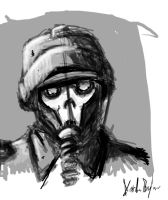 Sketch02 Skull and Gas Mask by Kufspawn