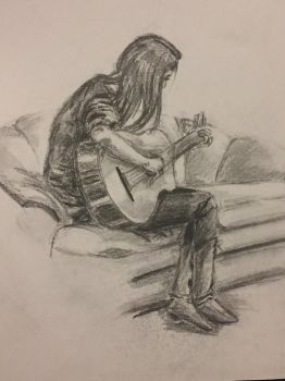 Playing the Guitar by AdelinaVixen