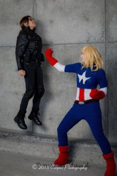 Fatality (Knitted Captain America - Marvel) by FangirlPhysics