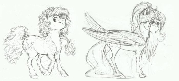 AU Doodle- Pinkie Pie and Fluttershy by Earthsong9405