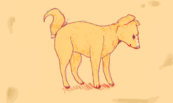A Yellow Dog by Moonvee