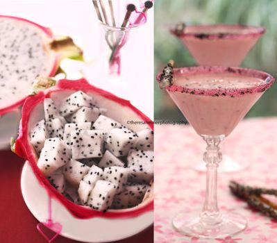 Dragon Fruit Chunks and Smoothie by theresahelmer