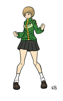 Chie Idle Stance GIF Now with Color by kjb1124