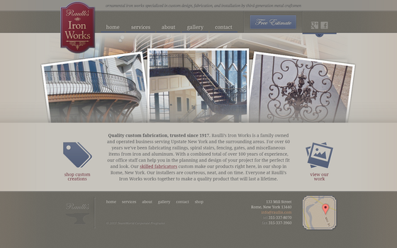Raullis Iron Works Website by Garconis