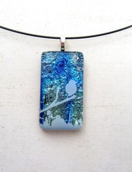 Wild Bird Silver Blue Fused Glass Necklace Pendant by FusedElegance