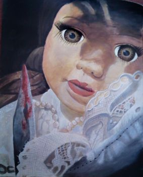 Psychotic Doll With Bloody Knife Painting by GemmaProuse