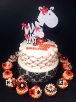 Zebra and Damask Cake and Cupcakes by Corpse-Queen