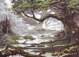 Old trees and little lakes by Tickclick