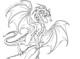 Regal Dragon Lineart by Ember-Eyes