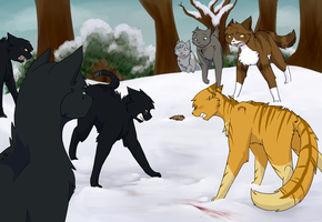 The fight in Snow by BluSilurus