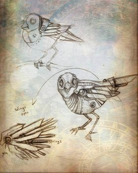 Steampunk Bird by pinkbutterflyofdeath